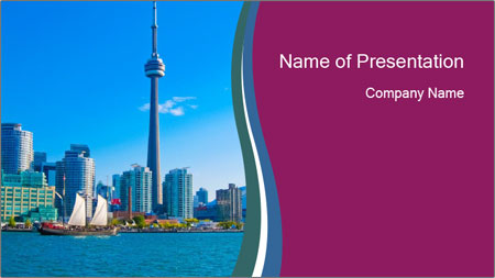 Toronto cityscape from Central Island PowerPoint Template