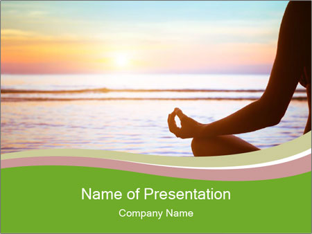 Serenity and yoga practicing at sunset PowerPoint Template