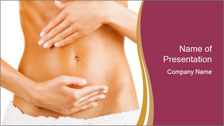 Pregnant woman stroking her belly PowerPoint Template