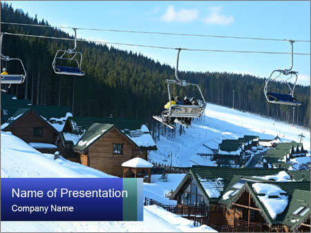 View from Bukovel ski PowerPoint Templates