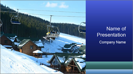 View from Bukovel ski PowerPoint Template