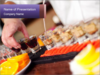Bartender pours alcoholic drink PowerPoint Template - Slide 1