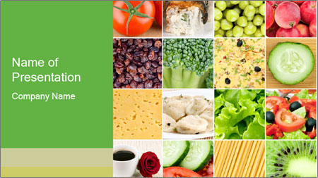 Collage of healthy food PowerPoint Template
