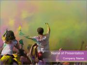 Dancing and celebrating during the color throw PowerPoint Templates