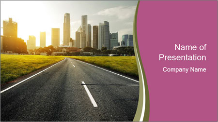 Asphalt road leading to a city PowerPoint Template