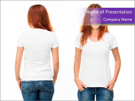 White t-shirt on a smiling girl PowerPoint Template