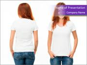 White t-shirt on a smiling girl PowerPoint Templates