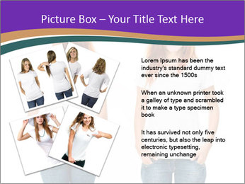 White t-shirt on a smiling girl PowerPoint Template - Slide 23