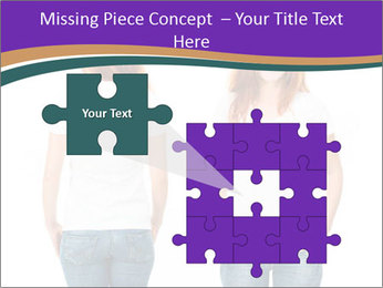 White t-shirt on a smiling girl PowerPoint Template - Slide 45