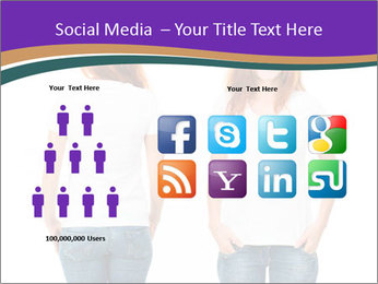 White t-shirt on a smiling girl PowerPoint Template - Slide 5