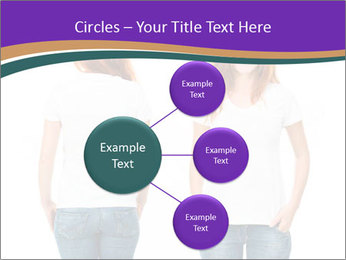 White t-shirt on a smiling girl PowerPoint Template - Slide 79