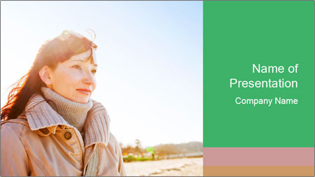 Beautiful young woman looking PowerPoint Template