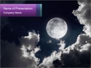 Night sky with moon and clouds PowerPoint Templates