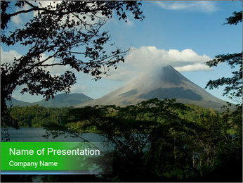 View of the Arenal volcano in Costa Rica PowerPoint Template - Slide 1