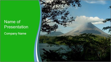 View of the Arenal volcano in Costa Rica PowerPoint Template
