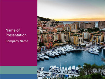 Aerial View on Fontvieille PowerPoint Templates - Slide 1