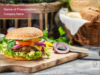 Closeup of burger made from beaf PowerPoint Template - Slide 1