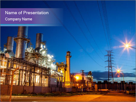 Twilight photo of power plant PowerPoint Templates