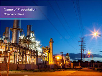 Twilight photo of power plant PowerPoint Templates - Slide 1