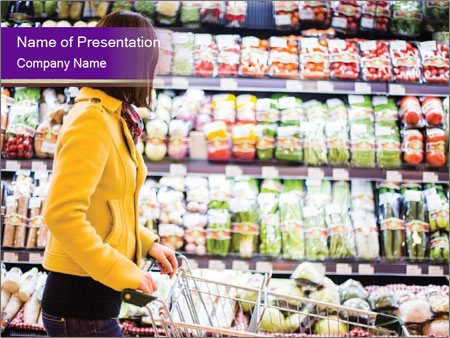 Young woman shopping PowerPoint Templates