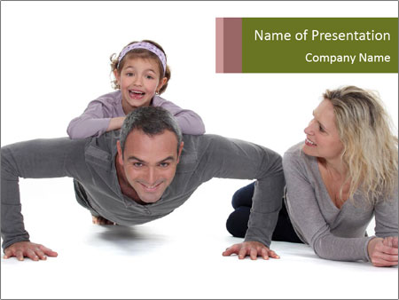 Father doing push-up PowerPoint Template