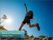 Hiker jumps PowerPoint Templates