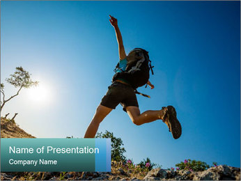Hiker jumps PowerPoint Template