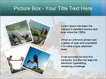 Hiker jumps PowerPoint Template - Slide 23