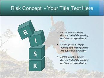 Hiker jumps PowerPoint Template - Slide 81