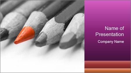 Orange Coloring Crayon PowerPoint Template
