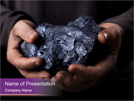 Coal in the hands PowerPoint Template