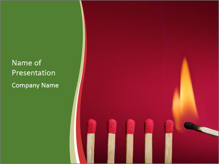 Burning match setting fire PowerPoint Templates