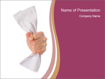 Hand Squeezing Paper PowerPoint Template - Slide 1