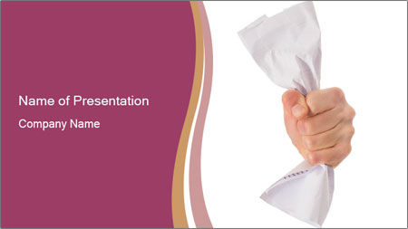 Hand Squeezing Paper PowerPoint Template
