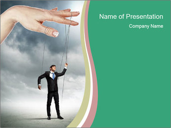 Businessman marionette PowerPoint Template - Slide 1