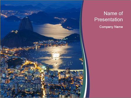 Night view of mountain Sugar Loaf PowerPoint Templates