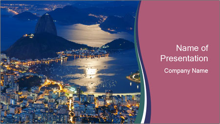 Night view of mountain Sugar Loaf PowerPoint Template