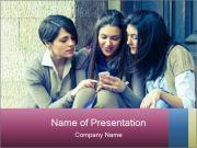 Group of Women Sending Message PowerPoint Templates