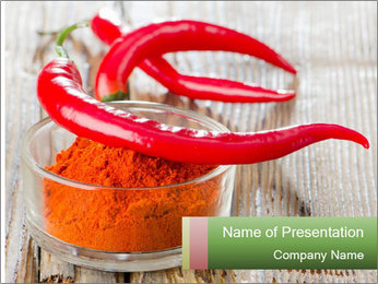 Red peppers on wooden table PowerPoint Templates - Slide 1