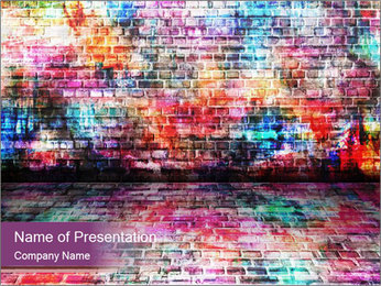 Colorful grunge art wall PowerPoint Templates - Slide 1