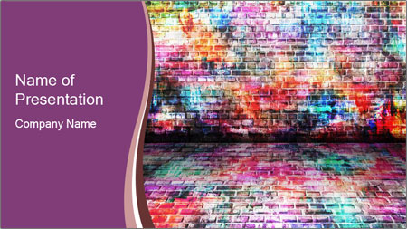 Colorful grunge art wall PowerPoint Template
