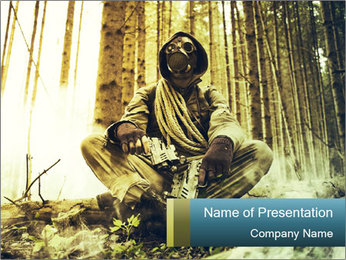 Soldier wearing a gas mask PowerPoint Template - Slide 1