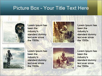 Soldier wearing a gas mask PowerPoint Template - Slide 14