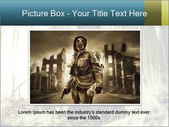Soldier wearing a gas mask PowerPoint Template - Slide 15