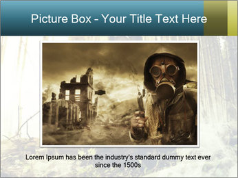 Soldier wearing a gas mask PowerPoint Template - Slide 16