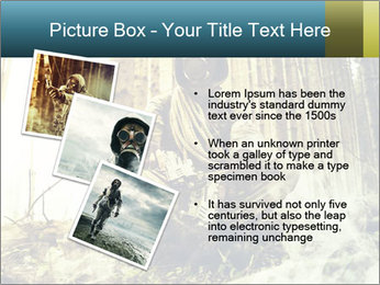Soldier wearing a gas mask PowerPoint Template - Slide 17