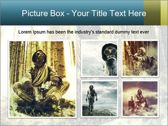 Soldier wearing a gas mask PowerPoint Template - Slide 19