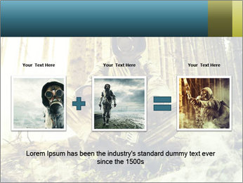 Soldier wearing a gas mask PowerPoint Template - Slide 22