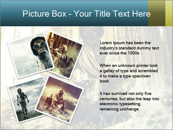 Soldier wearing a gas mask PowerPoint Template - Slide 23