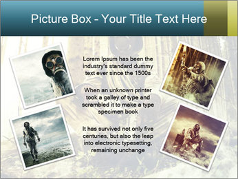 Soldier wearing a gas mask PowerPoint Template - Slide 24